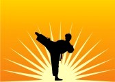 7806536-a-man-practices-in-karate-on-a-background-a-sun